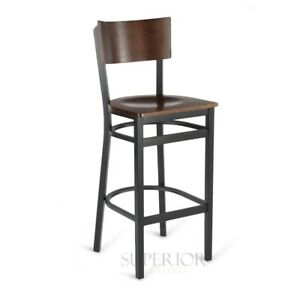 Commercial Restaurant Metal Bar Stools with Square Walnut Veneer Seat And Back