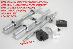 1pcs Sfu rm1605 300 1500mm Ballscrew 2pcs Sbr16 Linear Rail Kit For Cnc