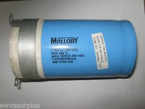Mallory Cgs742t200x5l Capacitor 7400uf 200vdc Used