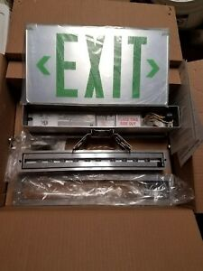 Encore Lighting Die Cast Edge lit Emergency Exit Sign Green Led Ny Approved