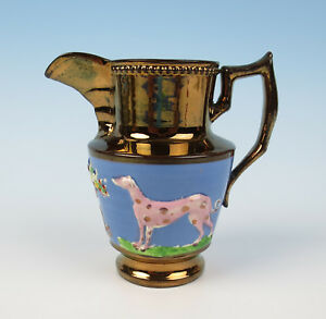 Antique Staffordshire Copper Lustre Blue Band Pitcher W Dog Bull Luster Jug