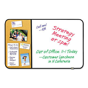 Post it Self stick Cork Bulletin And Dry Erase Board 36 X 22 White Black Frame
