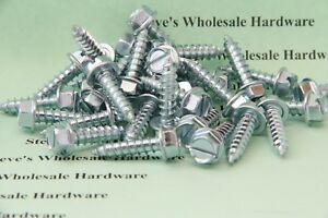 14 X 1 Slotted Hex Washer Head Sheet Metal Wood Tapping Screw Zp Steel