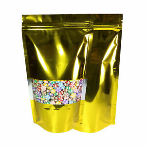 Pack Of 100 Shiny Gold Clear Window Bottom Gusset Ziplock Bags 18x26cm 7x10in