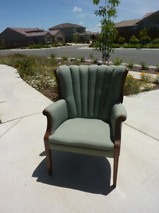 Channel Back Chairs 2 Upholstered In Seaform Blue Green Vintage 1949 1951