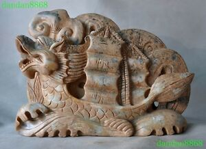 Rare Chinese Fengshui Old Jade Hand Carved Wealth Ruyi Dragon Boat Statue