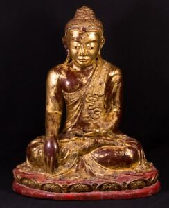 19th Century Wooden Mandalay Buddha From Burma Antique Buddha Statues