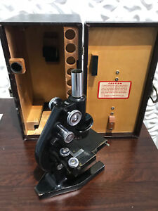 Bausch Lomb Binocular Microscope W Lens Accesories Luggage Case Vintage