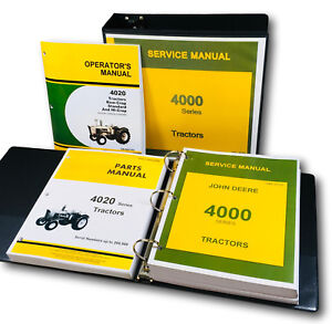 Service Parts Operators Manual Set For John Deere 4020 Tractor Shop Repair Books