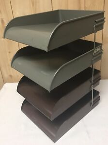 Large 4 Vintage Globe Wernicke Steel Metal Stacking Desk Trays Industrial Mcm