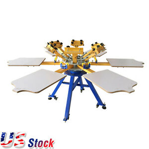 Usa 6 Color 6 Station Carousel Silk Screen Printing Machine Shirt Press Printer