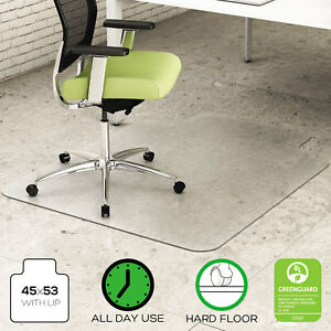Deflecto Environmat Recycled Anytime Use Chair Mat For Hard Floor 45 X 53 W lip