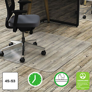 Deflecto Clear Polycarbonate All Day Use Chair Mat For Hard Floor 45 X 53