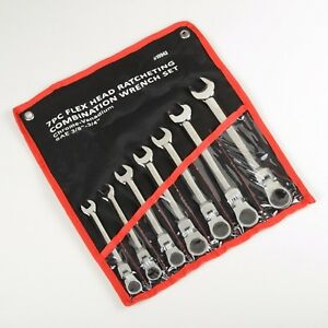 7pc 3 8 3 4 Flex Head Ratcheting Combination Wrench Set sae