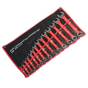 14pc Combination Wrench Set Soft Grip sae 3 8 1 1 4