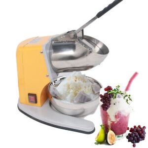 Commercial Electric Ice Crusher Shaved Ice Machine Yellow 220v Snow Cones Maker