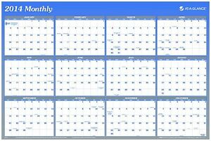 At a glance 2014 Vertical And Horizontal Erasable Yearly Wall Planner 36 X 24