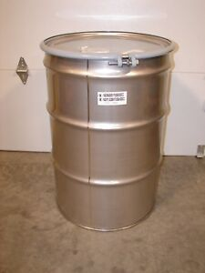 new 55 Gallon Silver 304 Stainless Steel Open Head Transport Drum St5501 4gy38