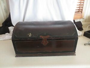 Antique 1800 S Dark Wood Large Domed Document Box 16 X 11 X 8