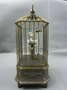 Collectible Decorated Old Handwork Copper The Bird Mechanical Table Clock S