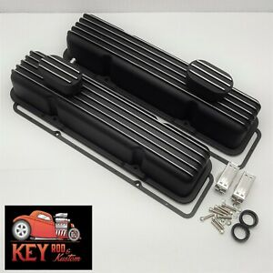 Small Black Chevy Black Finned Aluminum Valve Covers W Gaskets Sbc 350 400 305