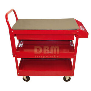 Red Mobile 36 Steel Rolling Tool Cart Roller Part Holder Storage Box 1 Drawer