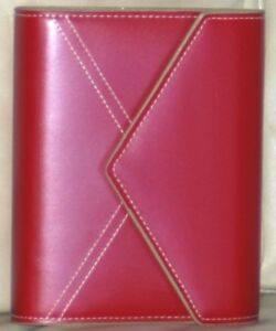 Franklin Covey New Red Leather Compact Organizer Planner Binder 6 1 Rings