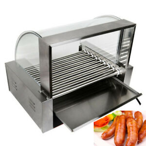 Commercial 360 9 Roller Hot Dog Grilling Machine Stainless Steels W cover