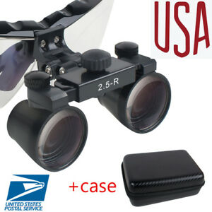 Usps Dental Loupes 2 5x Surgical Medical Binocular Loupe Case Light weight Black