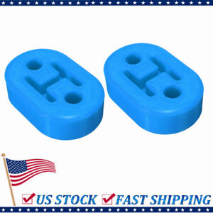 2pc Universal Car Rubber Exhaust Tail Pipe Mount Bracket Hanger Insulator Blue