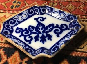 Vintage Or Antique Chinese Blue White Small Porcelain Serving Dish Plate