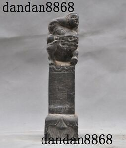 Collect Chinese Old Jade Stone Hand Carved Lion Foo Dog Beast Boys People Statue