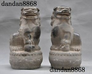 Collect China Old Jade Stone Hand Carved Fengshui Lion Foo Dog Beast Statue Pair