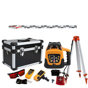 Automatic Self leveling 500m Red Beam Rotary Laser Level Kit Staff Tripod