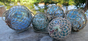 Japanese Glass Floats Antique Netted 3 3 2 2 Fishing Balls Vintage