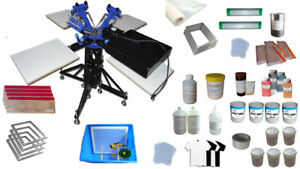 3 Color 4 Station Screen Printing Kit For Starter Diy Rotating Screen Printing