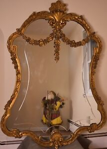 1910s Large Antique French Louis Xvi Style Carving Gold Gilded Mirror