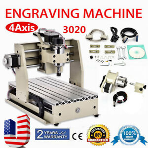 4 Axis Cnc 3020 Router Engraver Engraving Cutting Drilling Milling Machine Usa