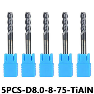 Solid Carbide End Mill Bits 8mm Cutting Dia 8mm Shank Length 75mm Milling Cutter