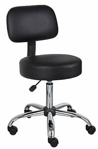 Dental Doctor Medical Exam Stool Office Chair With Backrest Black