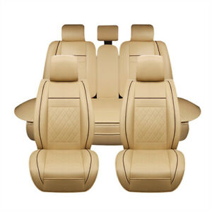 7pc Car Suv Seat Cover Pu Leather 5 seats Front rear Cushion Full Set Beige Egd