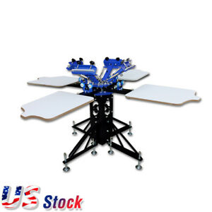 Us 4 Color 4 Station Silk Screen Printing Machine Printing Press T shirt Printer