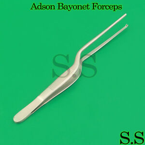 10 Adson Bayonet Kocher Forceps 8 Tweezers 1x2 Teeth Surgical Ent Instruments