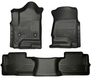 Husky Liners For 2014 2017 Chevy Silverado Double Cab Black Weather Floor Mats