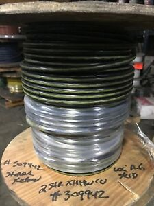 148 Ft Reel 2 Black With Yellow Stripe Stranded Copper Wire Xhhw Free Shipping