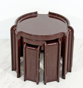 Mid Century Modern Kartell Set Of 3 Brown Stacking Nesting Side End Tables 1960s