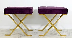 Art Deco Pair Brass Stools Benches Hollywood Regency Jean Michel Frank Style
