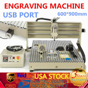 4axis 6090 Cnc Router 1 5kw Vfd Spindle Motor Engraving Milling Machine Usb Us