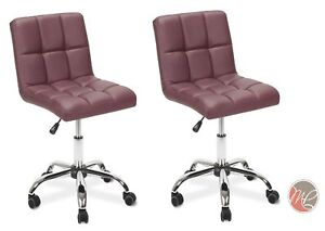 2 X Easy Glide Office Chair Pu Leather For Computer Desk Study Table Burgundy