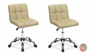 2 X Easy Glide Office Chair Pu Leather For Computer Desk Study Table Cream